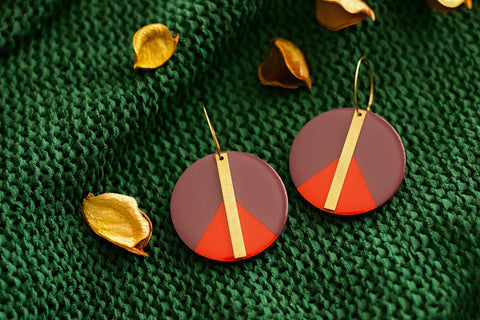 Bosk - Hand Painted Wooden Pendant Earrings