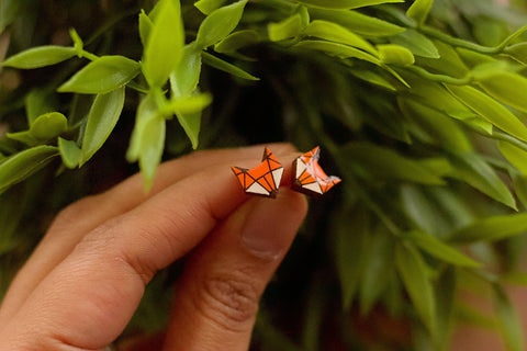 Fox Earrings - Hand Painted Wood Jewellery