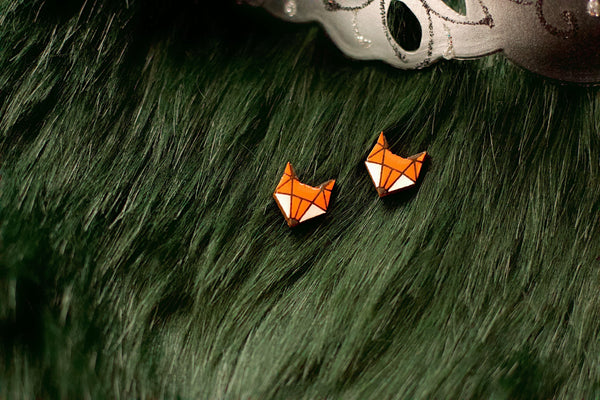 Cherish - Hand Painted Wooden Stud Earrings (Fox)