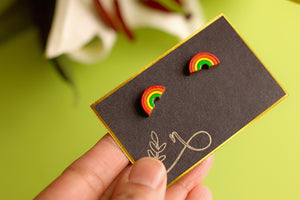 Cherish - Hand Painted Wooden Stud Earrings (Rainbow)
