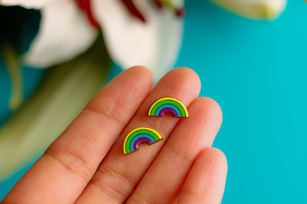 Rainbow Earrings - Hand Painted Wood Stud Earrings