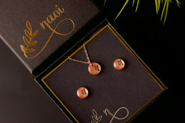 Cherish Gift Set - Hand Painted Wooden Stud Earrings and Pendant Necklace Set