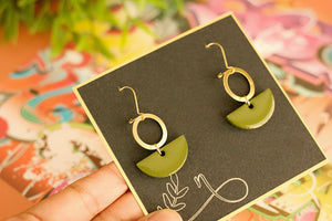 Moss - Hand Painted Wooden Pendant Earrings