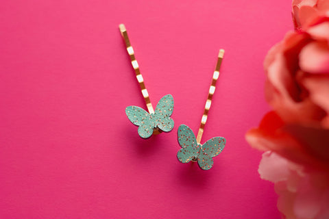 Flutter - Hand Painted Wooden Stud Hair Pins