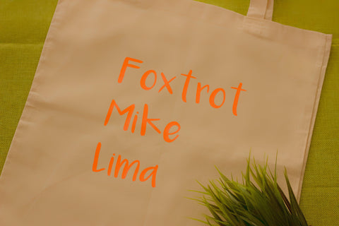 FML Tote Bag (NATO Phonetic Alphabet)
