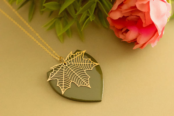Frond - Hand Painted Wooden Pendant Necklace