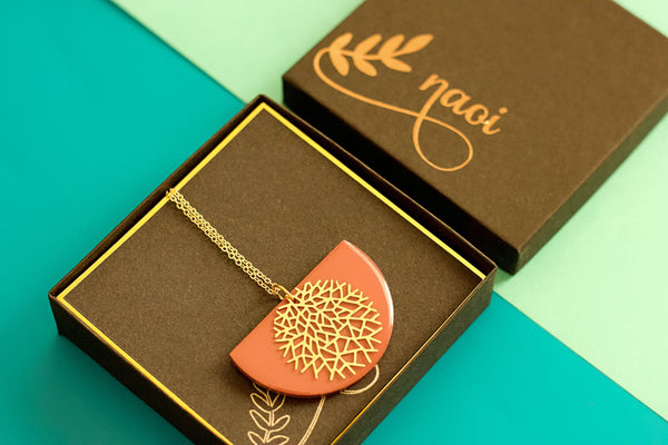 Serene - Hand Painted Wooden Pendant Necklace