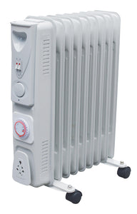 2KW 9 Fin Oil Filled Radiator With Timer White