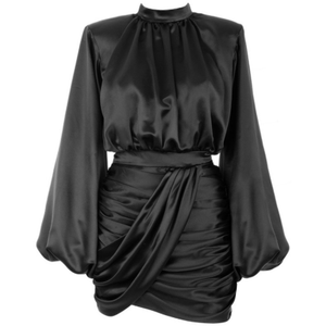 BLACK SATIN DRAPE DRESS