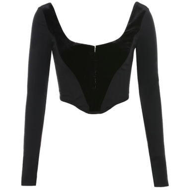 BLACK LONG SLEEVE CORSET TOP