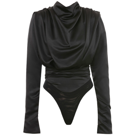 BLACK SATIN LONG SLEEVE BODYSUIT