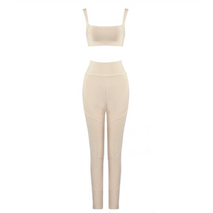 NUDE BODYCON TWO PIECE SET