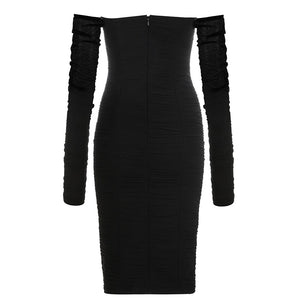 SHEER RUCHED BODYCON MIDI DRESS