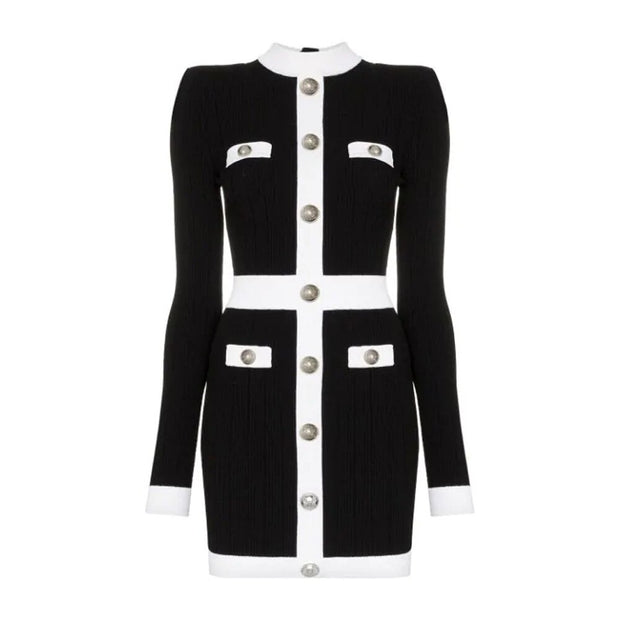 BLACK AND WHITE BODYCON BUTTONS DRESS