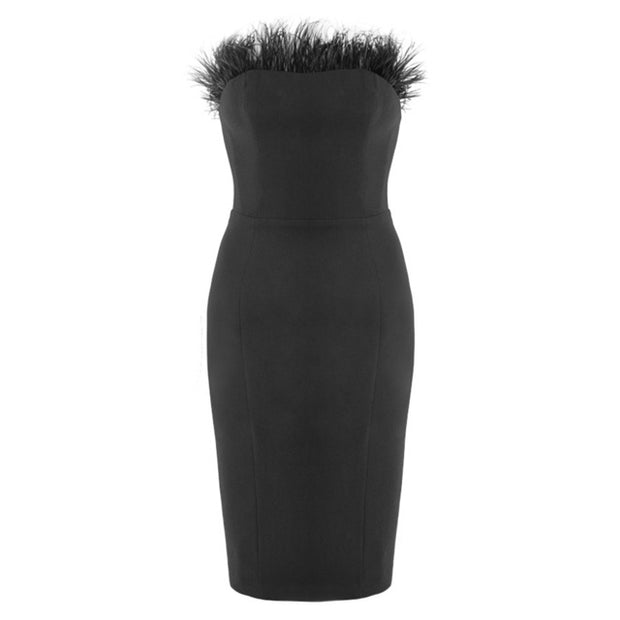 FEATHER BODYCON DRESS