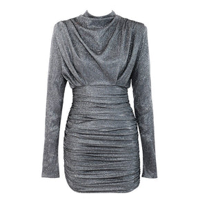 SILVER LONG SLEEVE BODYCON DRESS