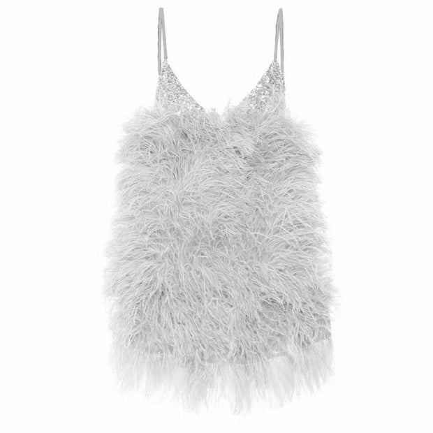 SEQUIN FEATHER MINI DRESS