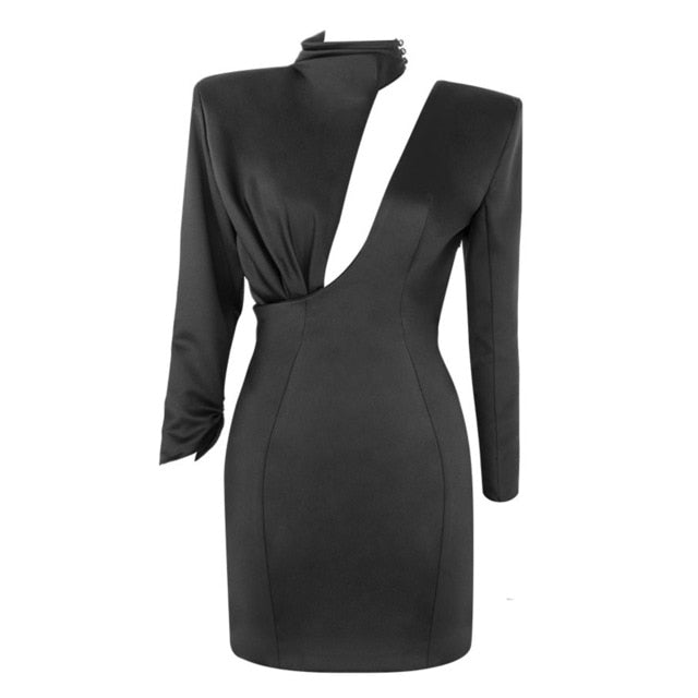 BLACK ASYMMETRIC CUTOUT BODYCON DRESS