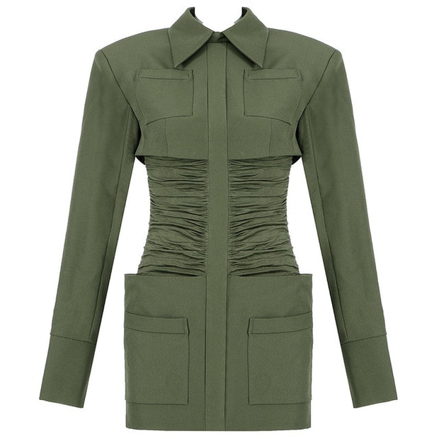 GREEN BLAZER BODYCON DRESS