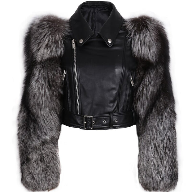 GENUINE LEATHER AND FUR JACKET