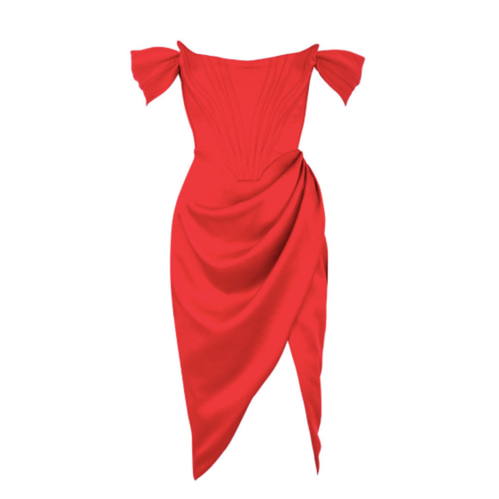 RED OFF THE SHOULDER CORSET MIDI DRESS