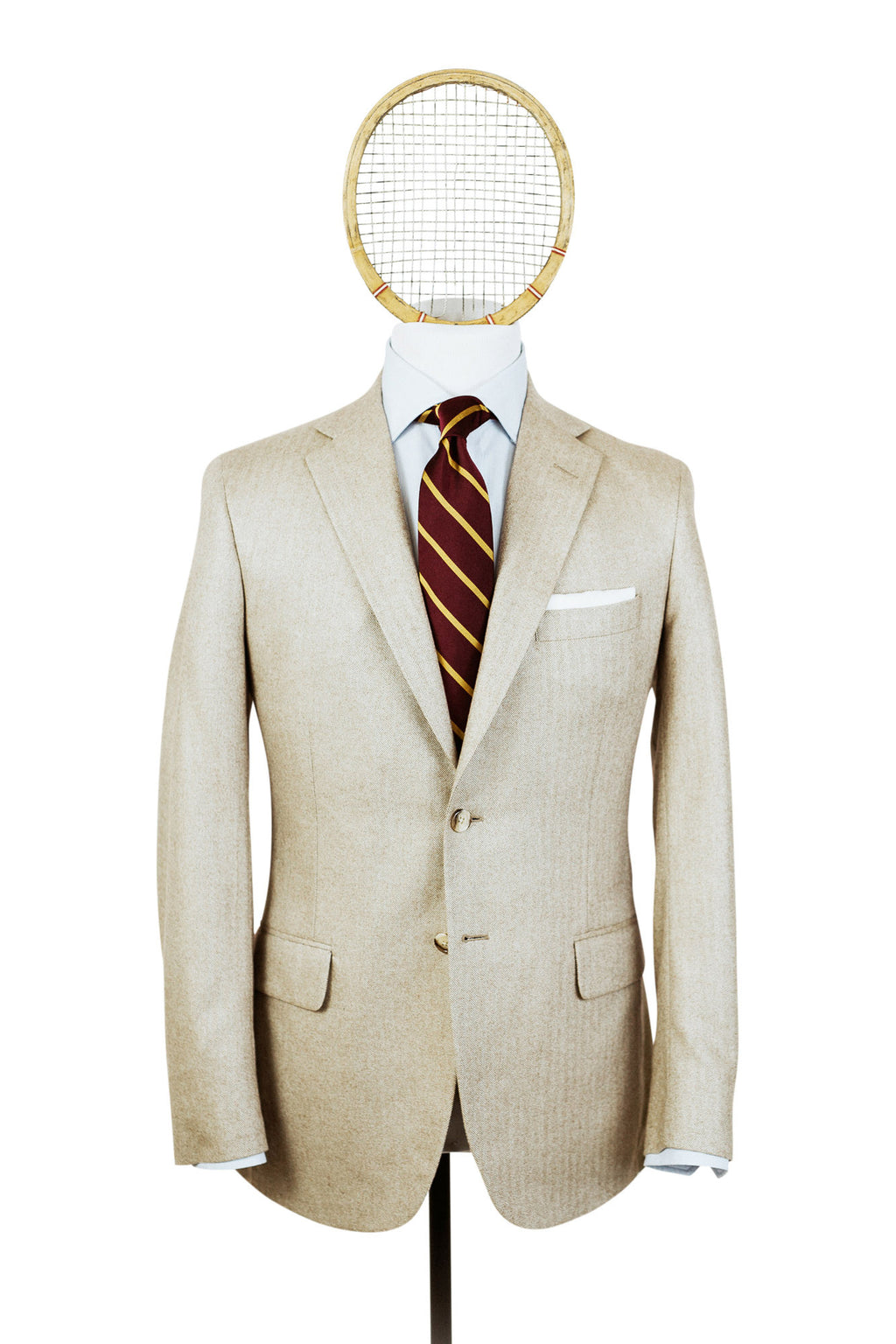 SHAW No. 1: Tan Herringbone in Cashmere-Silk