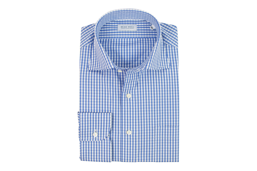 Spread Collar Sport Shirt - Blue Gingham