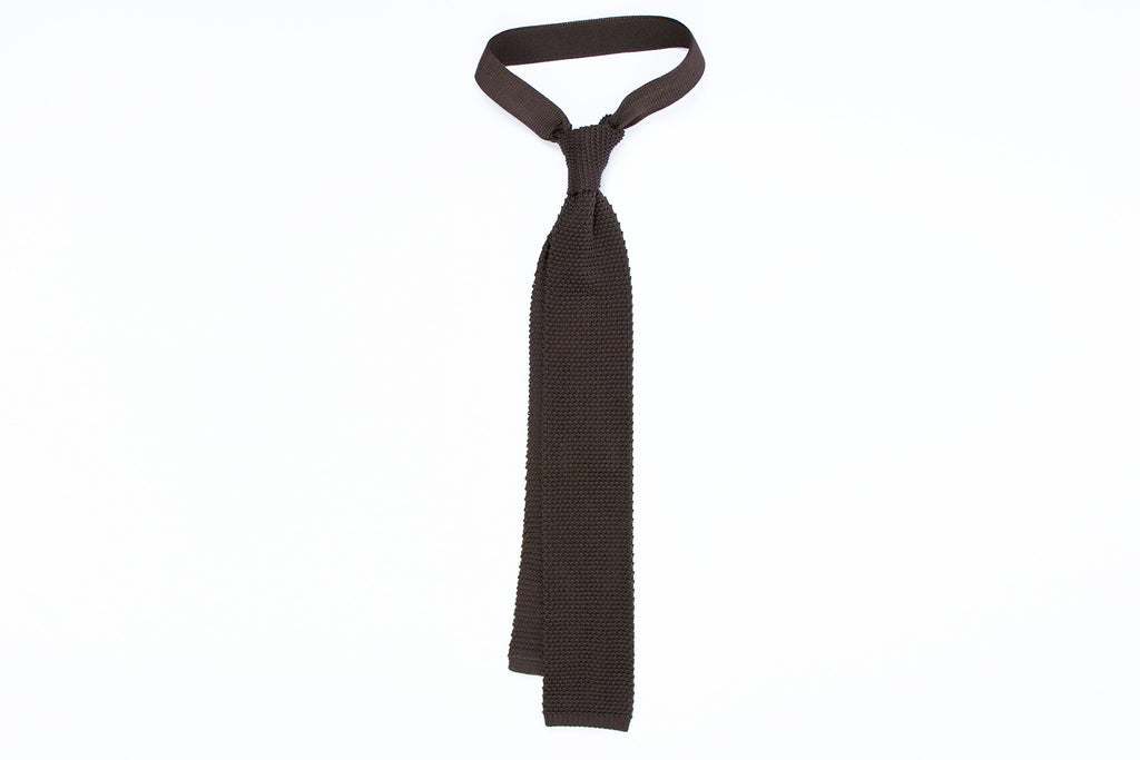 Silk Knit Tie- Chocolate