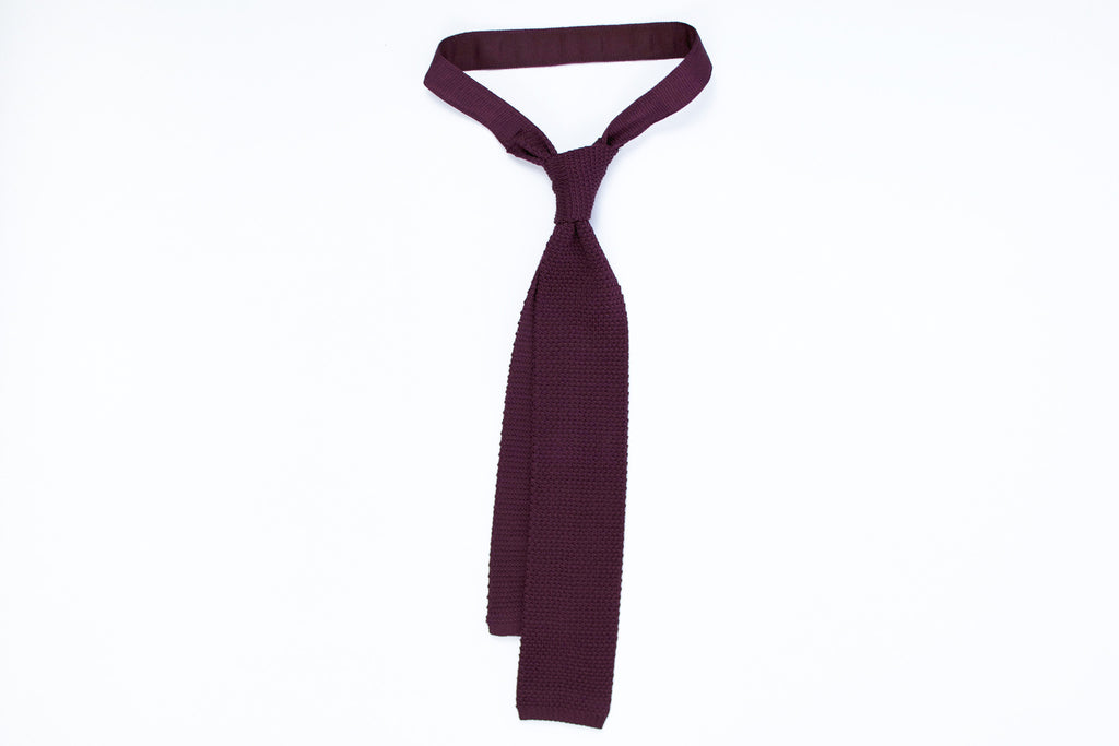 Silk Knit Tie- Burgundy