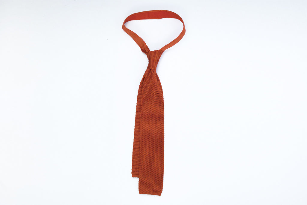 Silk Knit Tie- Dark Orange