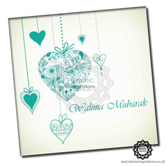 WWC028 Hot Teal Hearts Walima Mubarak