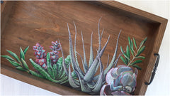 Stressed out but GORGEOUS: Hand-painted succulent wreath serving tray