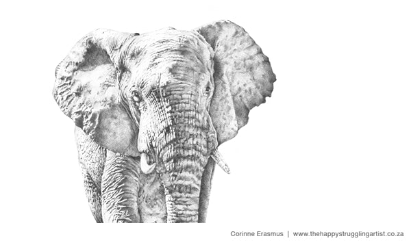 Realistic wildlife pen portrait of bull elephant in Addo National Park South Africa