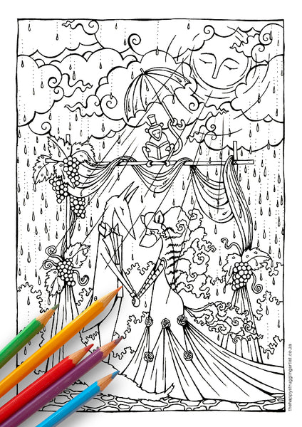 downloadable colouring page for kids and adults jakkals trou met wolf se vrou
