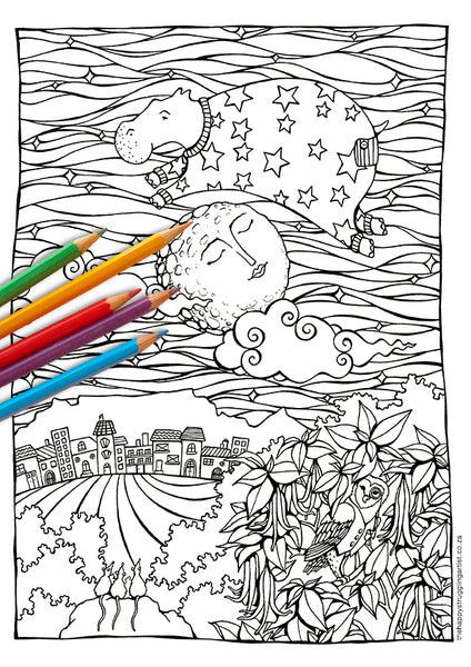 sea cow jumped over the moon colouring page for adults
