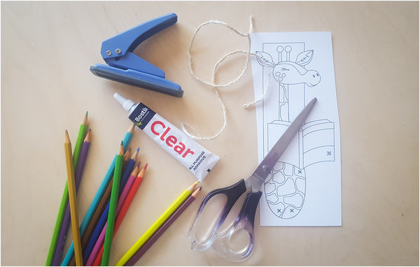 Stationary needed for giraffe bookmark craft project