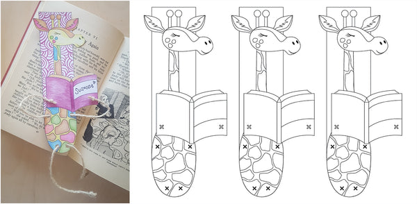 Option 1 free downloadable template for craft giraffe bookmark