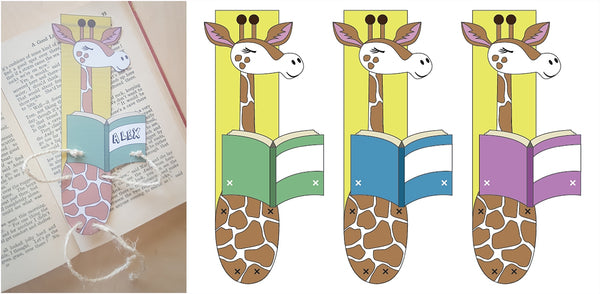 Option 2 free downloadable template for craft giraffe bookmark