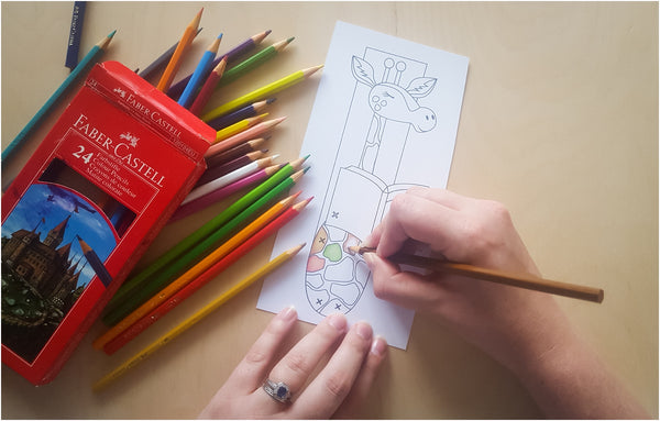 Color in and decorate craft project giraffe bookmark