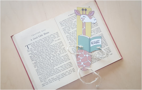 DIY personalized giraffe bookmark kids craft project
