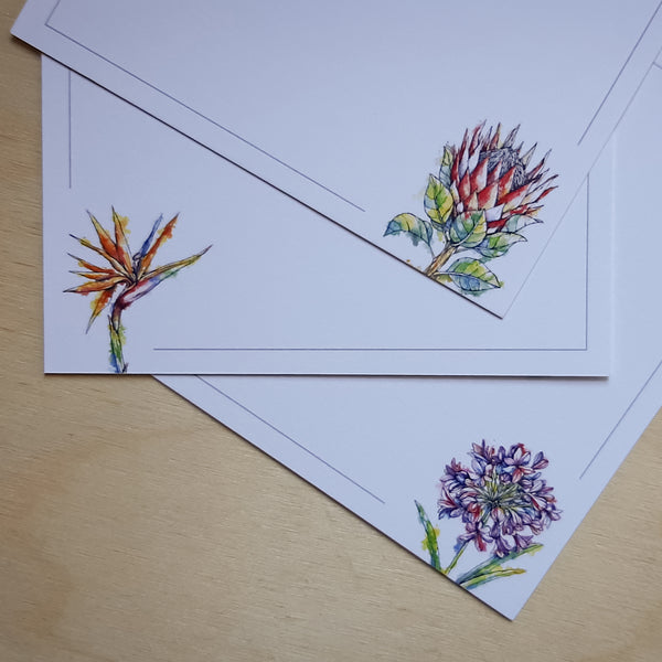 south african flowers on note cards