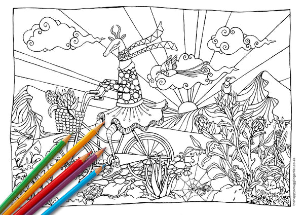 biking bokkie colouring page for adults