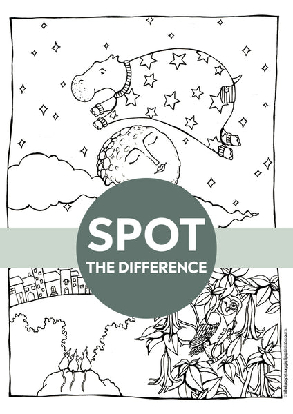 spot the difference sea cow jumps over the moon colouring page