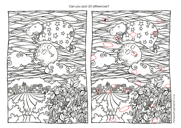 spot 20 differences sea cow jumps over the moon colouring page for adults