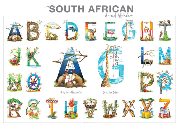 twins gift personalised SA Animal Alphabet poster the happy struggling artist cape town
