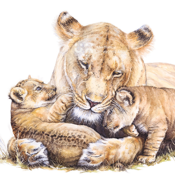 lioness and cubs photorealistic watercolour painting by the happy struggling artist