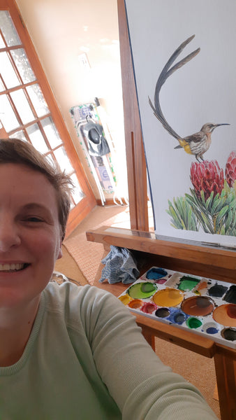 selfie with sugarbird watercolour painting