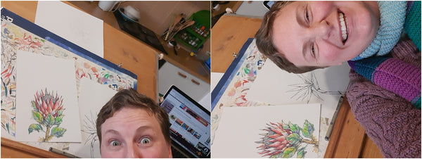 selfie with protea illustration