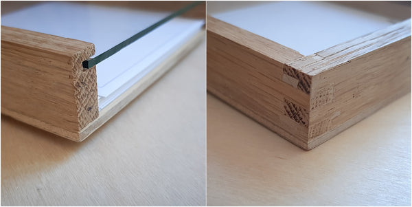 details of hand made oak note box