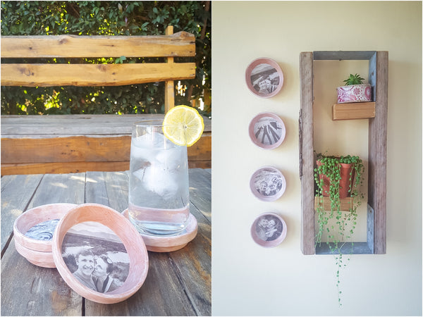 DIY tutorial for hand made photo wall art coasters using terra cotta saucers